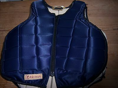 Racesafe childs riding navy blue body protector size Large worn once