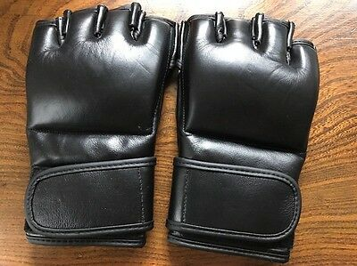 Leather Grappling Gloves Mma Martial Art Black Men's Small Unisex New
