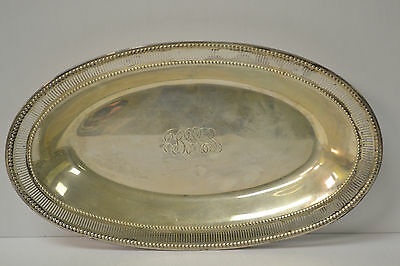 Art Deco Sterling Oval Bread Serving Tray c1925 178gr 11 1/8''  x 6 5/8''