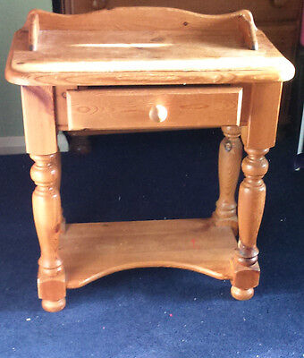 Solid pine  wood hall lamp occasional telephone table
