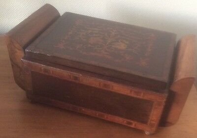 Rare Vintage Antique Wooden Inlay Marquetry Cigarette box Holds 36 cigarettes