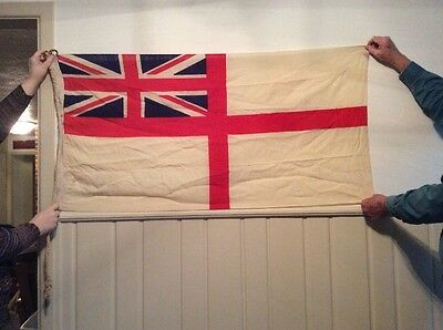 British Royal Navy Flag Ensign Circa 1960 Authentic St. George Cross