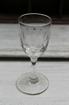 Antique Georgian Rummer Cordial Wine Drinking Glass with Lens Cuts c1880
