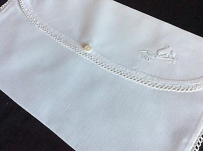 """Beautiful Antique Case ~ Hand Embroidered Whitework/lace ~ 15"""" X 9"""""""