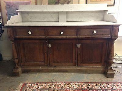 Magnificant Antique Oak And Marble Sideboard Buffet Server