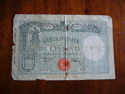 Italy, 1943, Fifty (50) Lire Banknote.
