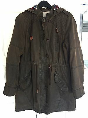 Ladies Brown Waxed Hooded Parka M&S size 14
