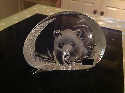 Vintage Lead Crystal Panda  By Mats Jonasson In Pristine Condition