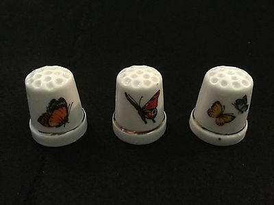Three Butterfly PORCELAIN Thimbles