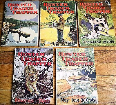 5 issues HUNTER TRADER TRAPPER Magazines ~ 1917 to 1920 ~ Great Advertisements!