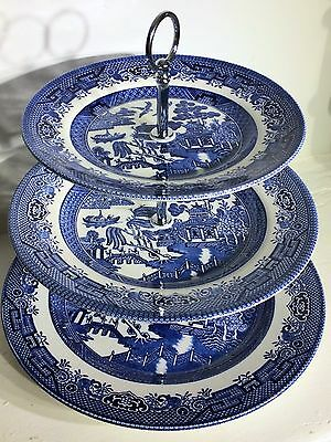 Vintage 3 Tier Cake Stand - Willow Pattern - Wedding / Afternoon Tea