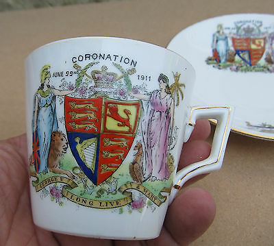 Scarce Antique Shelley (Late Foley) Cup And Saucer George V Coronation - 1911