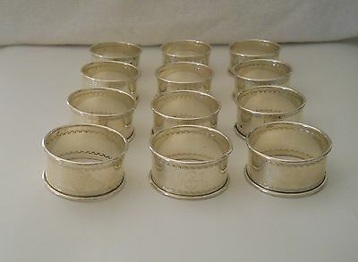 Vintage Set Of 12 Reed & Barton Round Sterling Silver Napkin Rings