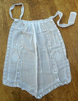 Fine cotton lawn half apron with white embroidery floral lace, ladder work 1930s