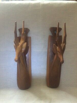 Pair wooden carved wall ornament