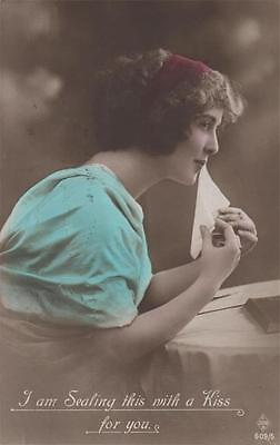 Glamour Girl  Real Photo 1915 I Am Sealing This With A Kiss For You