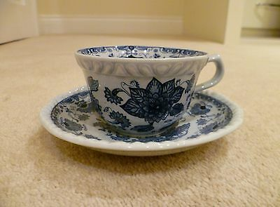Adams Blue And Off White / Grey Cup And Saucer - Pretty Flower And Leaf Pattern