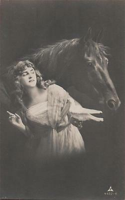 French Glamour Girl & Horse  Real Photo