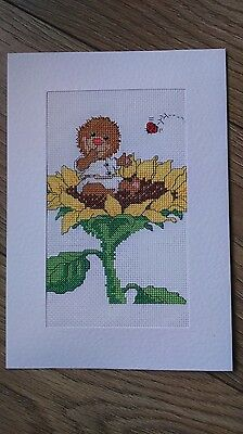 Completed cross stitch extra large card, suzy's zoo sunflower friends