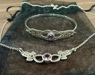 Celtic style amethyst and sterling 925 silver necklace and bracelet bangle set
