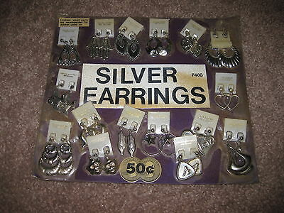 VINTAGE Retro Gumball Header SILVER EARRINGS Toy Charm Prize Display Card