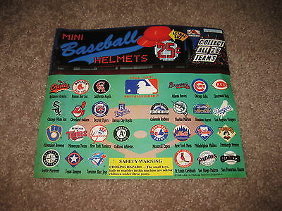 VINTAGE Retro Gumball Header MINI BASEBALL HELMETS Toy Charm Prize Display Card