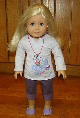 American Girl Just Like Me You Doll Real Me Blonde Hair Blue Eyes Charm Necklace