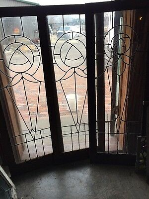 Sg 1122 1 available 2 soldPrice Each Leaded Glass Window Or Cabinet Door 18 X 48