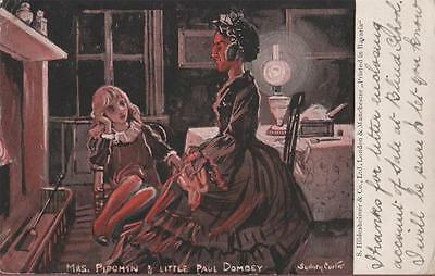 Artist Signed Sydney Carter Charles Dickens Mrs Pipchin & Paul Dombey 1903