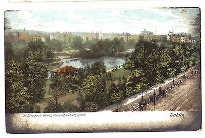 Dublin St Stephen's Green From Shelbourne Hotel Ireland Old Hartman Postcard