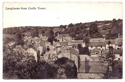 Laugharne FROM CASTLE Carmarthenshire WELSH WALES OLD POSTCARD
