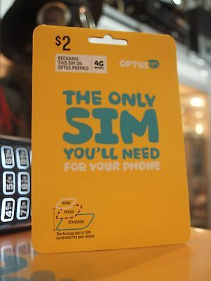 Optus $2 Starter Pack / 3 In 1 Sim Card (4G) For Your Phone  / Expiry 01/05/2018