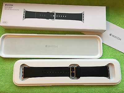 Genuine Apple  Watch Band 42 mm Black Leather Classic Buckle WORN ONLY ONCE!
