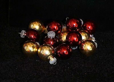 Maroon & Gold Mercury Glass Miniature Feather Tree Christmas Ball Ornaments