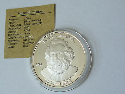 Korea 2006 Karl Marx 5 Won ULTRA RARE ! Silber silver Proof
