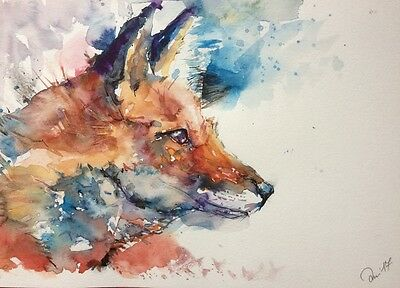 ABSTRCT RED FOX original watercolour painting SIZE A4
