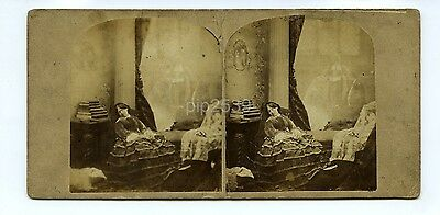 Dream Of The Wedding - Genre Stereoview Silvester c1850s - Dream / Ghost Image