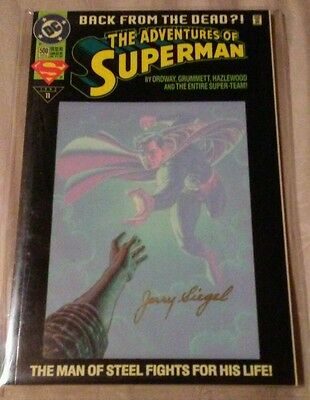 Adventures of Superman #500 -- Signed by Jerry Siegel...