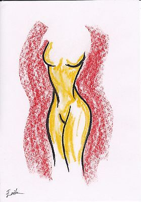 Abstract Nude Woman Pastel Drawing. Original, Size A4, Signed by Artist