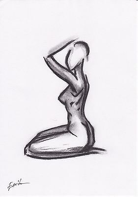 Black and White Pastel Nude Woman Abstract Drawing/Sketch.Original,Size A4