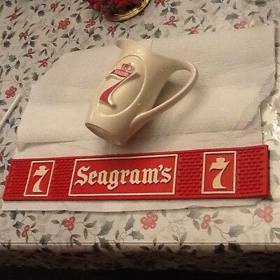 Vintage Seagrams 7 Pitcher and Rubber Bar Mat