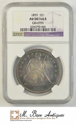 AU Details 1855 Seated Liberty Silver Dollar - Graffiti - NGC Graded *0736
