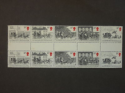 British Stamps NH  First Mail Coach Run, Strip of 5 Gutter Pairs