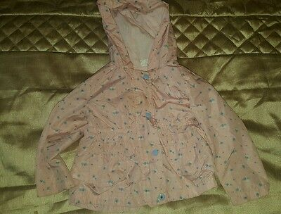 F&F toddler pink and flower blossom raincoat hooded 12 to 18 months
