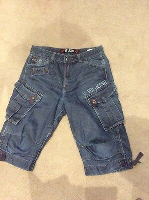 2 Pairs Of VOI Mens Knee Length Shorts Waist 32""