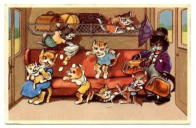 vintage cat postcard dressed cats create havoc train carriage baby fed luggage