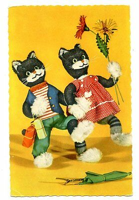 vintage cat postcard dressed black cat couple stroll arm in arm flowers presents