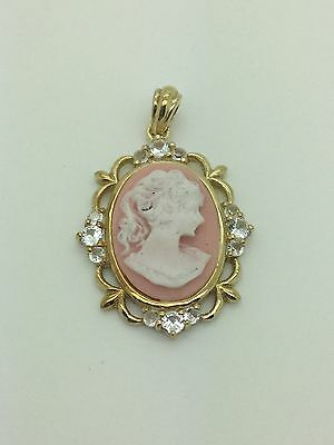 Victorian Edwardian 925 Sterling Silver Coral Cameo Pendant With CZ Stones