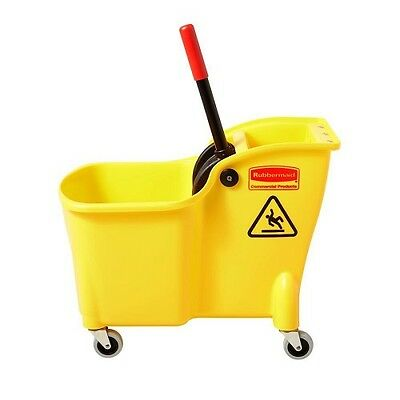 Rubbermaid Commercial Mop Products 31 Qt Tandem Bucket Janitorial Cart 4 Casters