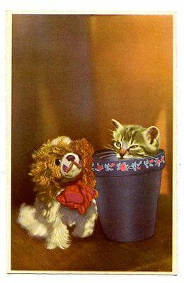 vintage cat postcard super cute kitten peeps out of plant pot at toy dog 1947